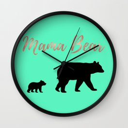 Mama Bear - Mint Wall Clock