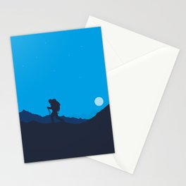 Hiker At Blue Winter Night Stationery Cards