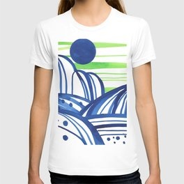 Lime and blue abstract landscape T-shirt