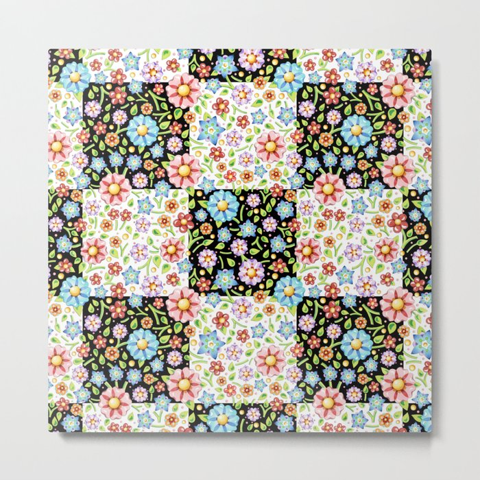 Millefiori Floral Patchwork Metal Print