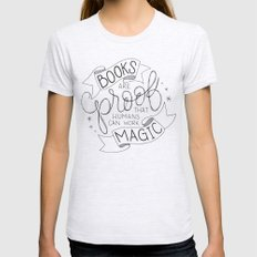 Books are Magic Womens Fitted Tee LARGE Ash Grey