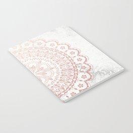 Rose gold mandala and grey marble Notebook