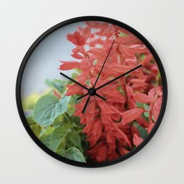Red Flowers in Vintage Marquette Wall Clock