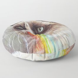 Cat Tastes the Grumpy Rainbow Floor Pillow