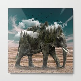 Elephant Surreal Art w/ Trees, Clouds, and Birds Metal Print