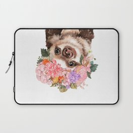 Baby Sloth with Flowers Crown in White Laptop Sleeve