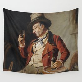 Old Man Drinking Beer Painting Wall Tapestry
