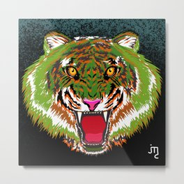 Green Tiger Metal Print