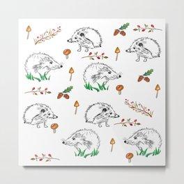 Hedgehogs Autumn Pattern Metal Print