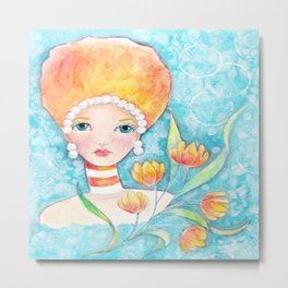 Whimiscal Big Hair Girl Metal Print