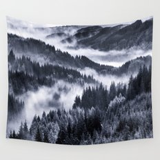 Misty Forest Mountains Wall Tapestry