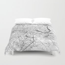 Rome White Map Duvet Cover