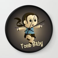 lara croft Wall Clocks featuring Geek Babies: Lara by Deanna Marie: Art & Design