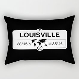 Louisville Kentucky Map GPS Coordinates Artwork with Compass Rectangular Pillow