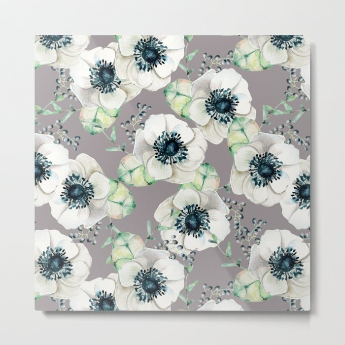 Soothing Rose Garden Gray + White Navy Metal Print