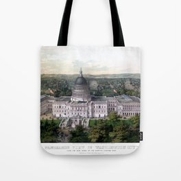 WASHINGTON CAPITOL 1857 city old map Father Day art print poster Tote Bag
