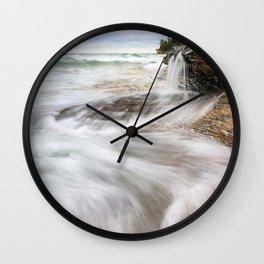 Elliot Falls on Miners Beach - Pictured Rocks, Michigan Wall Clock