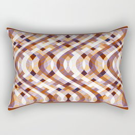 Wavy Lines 3 - Rust and Lilac Rectangular Pillow