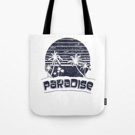 Paradise Sunset Beach Vacation Vintage Island Retro Black Tote Bag
