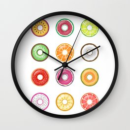 Colorful Illustration of Fruity Healthy Donuts Wall Clock