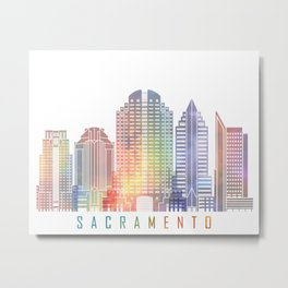 Sacramento skyline landmarks in watercolor Metal Print