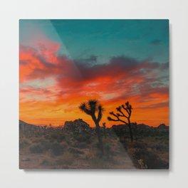 Safari Desert Sunet Metal Print
