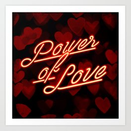 Inspirational love quotes retro neon sign, Valentine's red black hearts bokeh pattern Art Print
