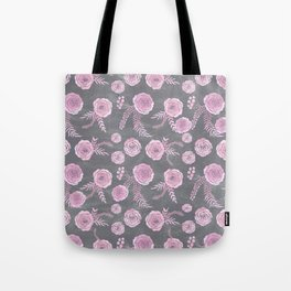 Peony Pattern Grey 2 Tote Bag