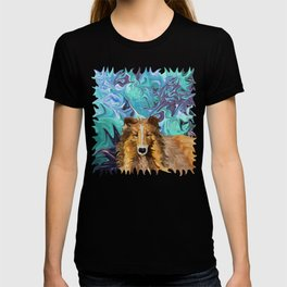 The Inquisitive Collie of the Psychedelic Dog Parade T-shirt