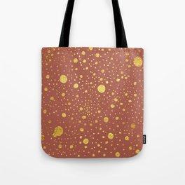 Gold leaf hand drawn dot pattern on dusky pink Tote Bag