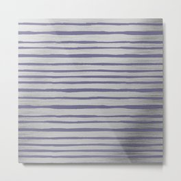 Violet gray silver watercolor brushstrokes stripes Metal Print