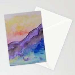 purple mountainside Stationery Cards