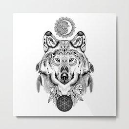 Bohemian Celestial Wolf Metal Print