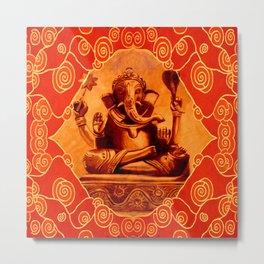 GANESHA - orange Metal Print