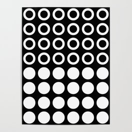 Mid Century Modern Circles And Dots Black & White Poster