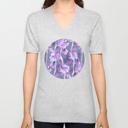 Simple Iris Pattern in Pastel Purple Unisex V-Neck