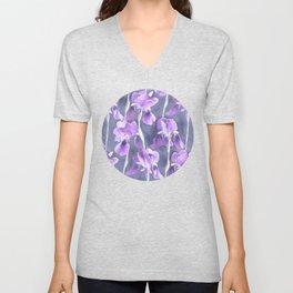 Simple Iris Pattern in Pastel Purple Unisex V-Neck