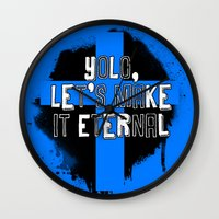 yolo Wall Clocks featuring YOLO by FOREVER NERD