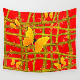 YELLOW BUTTERFLIES & RED THORN LATTICE Wall Tapestry