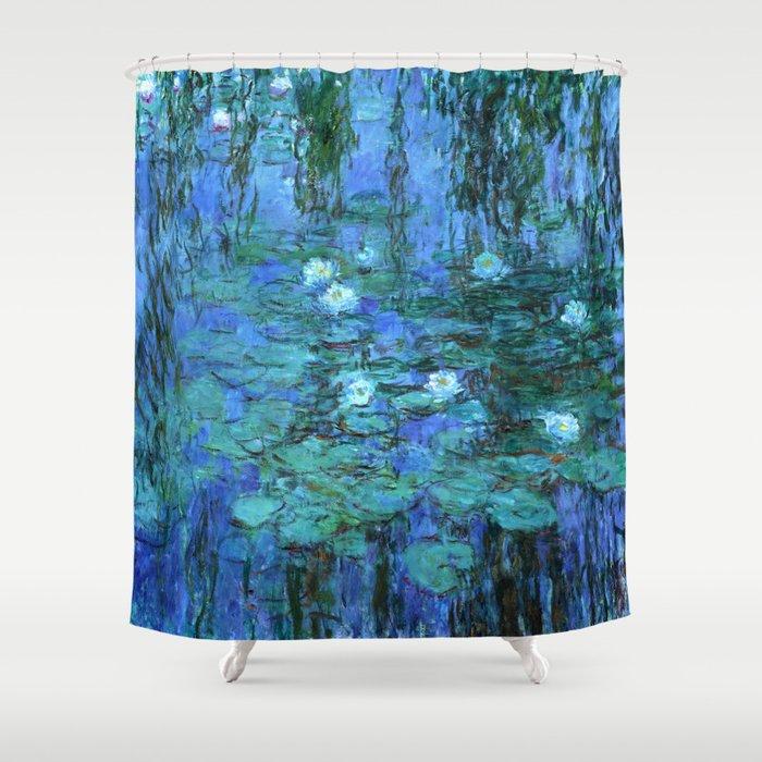 Claude Monet Water Lilies BLUE Shower Curtain