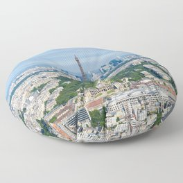Paris aerial high resolution cityscape from Eiffel Tower to Grand Palais Floor Pillow