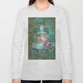 Watercolor Mandala Buddha in Galaxy Long Sleeve T-shirt