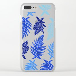 Inked Ferns – Blue Palette Clear iPhone Case