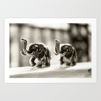 elephants Art Prints featuring Elephants by Jay W