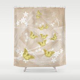 Gold butterflies on stormy iced-coffee flower mandala Shower Curtain