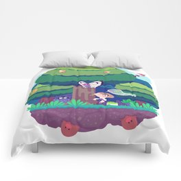 Tiny Worlds - Viridian Forest Comforters