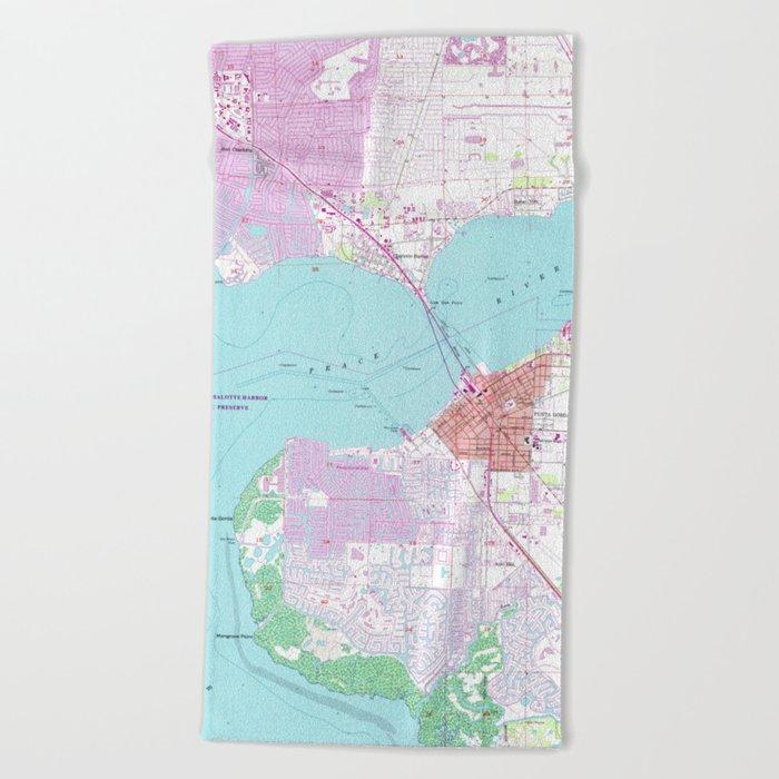 Map Of Port Charlotte Florida.Punta Gorda Port Charlotte Florida Map 1957 Beach Towel By