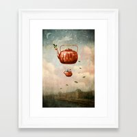 tea Framed Art Prints featuring Tea for Two at Dusk by Paula Belle Flores