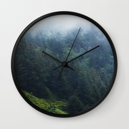 Oregon forest, foggy forest, oregon coast, green forest, nature, moody forest, moody landscape Wall Clock