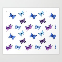 Butterfly Pattern Blue Purple Art Print